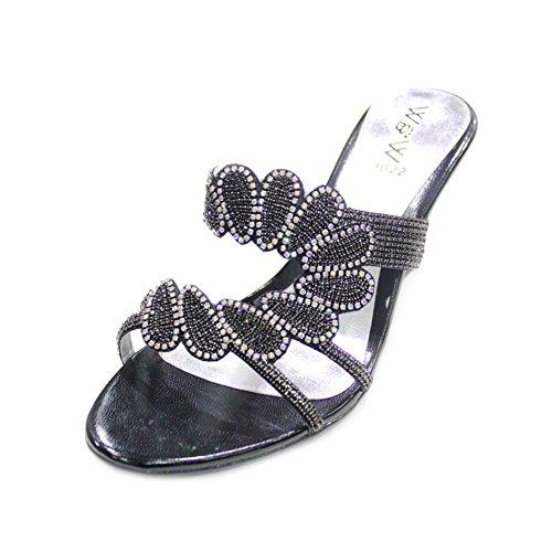 W & W Frauen Damen mit rutschfester auf Keil Absatz Hochzeit Party Abend Schuhe Brautschmuck Sandalen Größe (Jeri) Schwarz