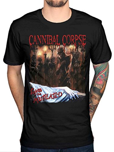 Official Cannibal Corpse Of The Tomb-Mutilated Global Butchered marchio Skeletal, con stampa zombi di nascita: 26 nero X-Large