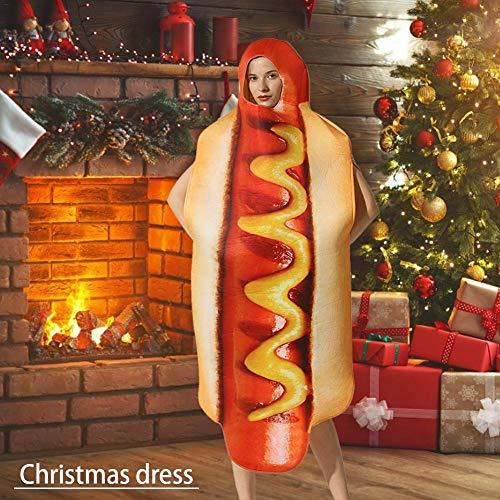 Allowevt Fußlange Hot Dog Cosplay Kostüm Essen Halloween Weihnachten Kostüm, Unisex Männer Frauen Dress Up Thema Party Rollenspiel & Cosplay Wurst Anzug Easy to use (Easy Home Kostüm Frauen)