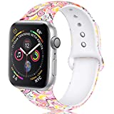 Zekapu Floral Correas Compatible para Apple Watch 38mm 42mm 40mm 44mm, Suave Silicona Inmarchitable Modelo Impreso Reemplazo Correas para iWatch Series 4/3/2/1, Vistoso Nube