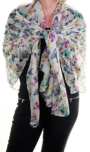 Femme Taille L Motif Papillon multicolore petite Écharpe en mousseline de soie Col ou en Sarong Blanc Cassé