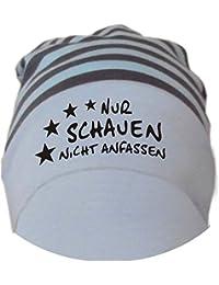 Baby Beanie Mütze gestreift Nur schauen nicht anfassen / in 7 Designs / Größen 0-36 Monate