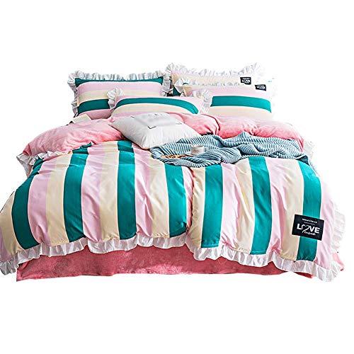 HMEIGUI Bettbezug 4 Stück Sets, rosa gestreiften doppelseitigen Flanell Ultra Soft und Easy Care Girls Bettwäsche-Sammlung, schützt und deckt Ihren Tröster -