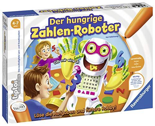 Ravensburger tiptoi Der hungrige Zahlen-Roboter Spiel, ab 4 Jahren, Lerne spielerisch Formen und Zahlen bis 20, in 4 Schwierigkeitsstufen