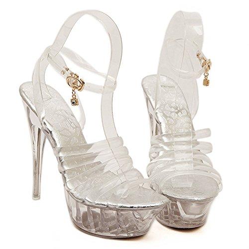 Frauen Sandalen Schnalle Plattform Extreme Sexy Stiletto High Heel Schuhe Damen Peep Toe Klassische Kleid Prom Pumps,Silver-EU39=245 -