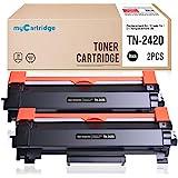 MyCartridge 2 Paquete Toner Compatible Brother TN-2420 TN2420 (con Chip) para Brother HL-L2350DW DCP-L2530DW HL-L2370DN MFC-L2710DN HL-L2370DW HL-L2375DW MFC-L2710DW(2*Negro)