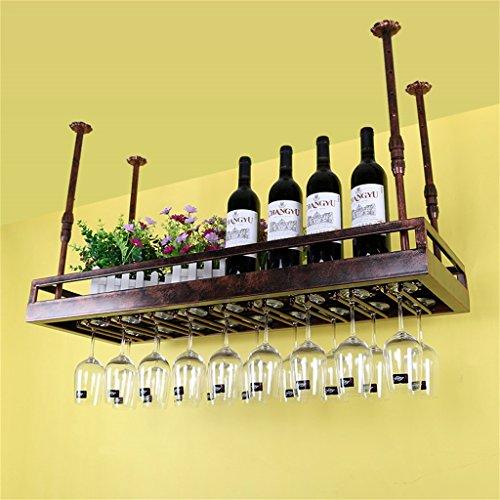 JIA JIA HOME- Decken-Weinregale an der Wand befestigte hängende Wein-Flaschen-Halter-Metalleisen-Weinglas-Gestell-Becher-Stemware-Zahnstangen Weinlese-Art-kreative Stab-Dekoration-Anzeigen-Regal 30-60cm justierbare Höhe - verschiedene Größen verfügbar ( Farbe : Bronze , größe : L60*W35cm - Decke Hängenden Weinregal