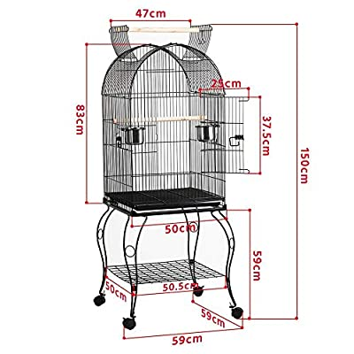 Yaheetech Large Parrot Bird Cage Cockatiel Sun Parakeet Green-Cheek Conure Canary Lovebird Budgie Parrotlet Finch Parrot Cage Open Top with Detachable Stand from Yaheetech