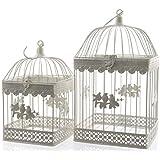 Con diseño de la jaula de pájaro decorativa de maceta de la jaula de metal de colour crema 2er Set