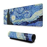 NaisPanda Tappetino per Mouse Gaming,Tappetino per Mouse Stampa Personalizzabile Base in Gomma Antiscivolo,Van Gogh Starry Night 30 * 80CM