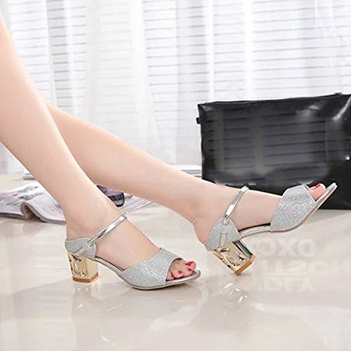Longra Donna Estate Piscine Bocca spessi tacco alto sandali con strass Argento