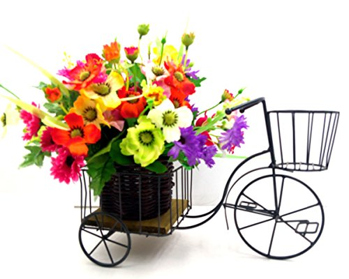Celebrationgifts Flower Vase Iron Miniature Rickshaw Showpeice