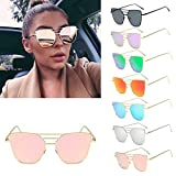 Clearance Sale!OverDose Men Women Vintage Retro Square Frame Glasses Unisex Fashion Aviator Sunglasses(#7)