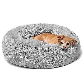 Fewao Lit pour Animal Domestique Extra Doux Coussin de Couchage pour Chien Rond Ovale en Polaire Lavable 60 cm ou 50 cm Blanc Gris Taille M