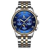 WATCHES-HAN Uhren für Männer 14 Colores Mechanische Uhr Automatik Multifunktion Kalender Bewegung Mode Leucht Wasserdicht Leder Alloy Edelstahl Schwarz Braun Silber Blau -a