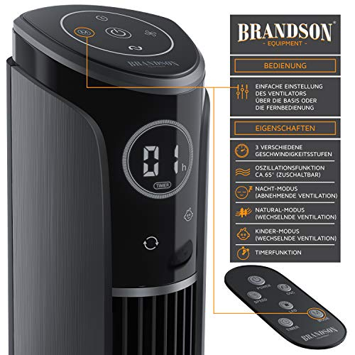 Brandson – Turmventilator mit Fernbedienung 108 cm | Ventilator 10° neigbar | Standventilator mit Oszilation | 65° oszillierend | 3 Geschwindigkeiten 4 Lüftungs-Modi Timer | GS | Cool Grey Bild 2*