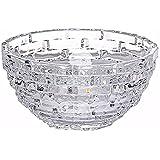 King International Stainless Steel Crystal Glass Bowl With Beautiful Design | Serving Bowl | Glass Katori | 16 Cm