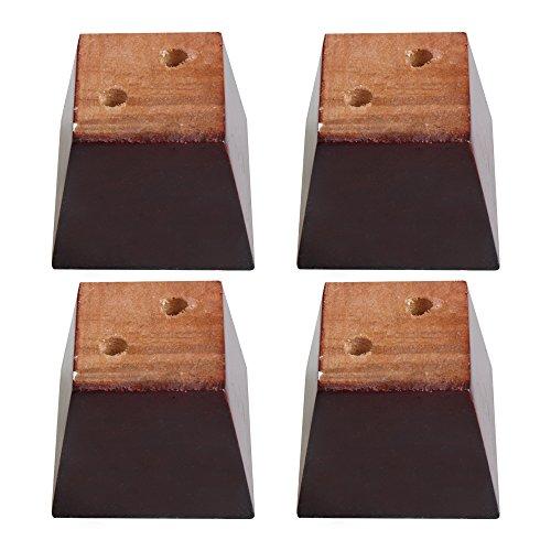 bqlzr 7,5x 7,5x 6cm Rot Braun Trapezform Kiefer Holz Möbel Beine Füße 100kg Bearing Gewicht Lifter für Sofas Schränke Tische Betten Pack von 4