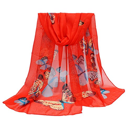 VENMO Neuer Art- und Weiseschal Dame Chiffon Butterfly Print Neck Shawl Schal Warm Wrap Stole (Kostüm Red Hot Candy)