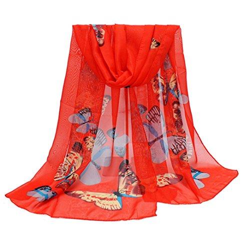 VENMO Neuer Art- und Weiseschal Dame Chiffon Butterfly Print Neck Shawl Schal Warm Wrap Stole (Red) (Red Hots Candy Kostüm)