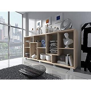 Home Innovation - Étagère Murale Rangement pour Livres, bibliothèque Salon - Séjour, Contemporaine, séparation-Division, Montage Horizontal et Vertical. Chêne Clair brossé, Dimensions: 68,5x161x25cm.