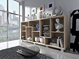 Home Innovation – Regal Bibliothek, Bücherregal, Bibliothek, Regal Design Wohn, Esszimmer Eiche hell, Maße: 68,5 x 161 x 25 cm Tiefe.