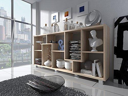 Home Innovation - Regal Bibliothek, Bücherregal, Bibliothek, Regal Design Wohn, Esszimmer Eiche hell, Maße: 68,5 x 161 x 25 cm Tiefe. -