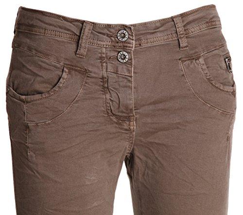 "Jeans pour femme coupe boyfriend aladin harem pantalon chino baggy taille basse boyfriendjeans boyfriendhose batik look ""destroyed"" Schlamm (2-Knopf)"