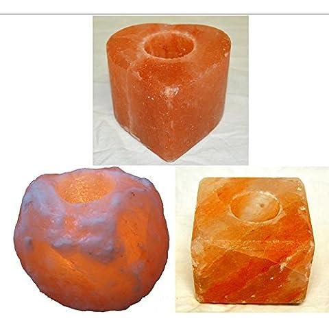 3 Porta candele di sale GREZZO, CUBO; CUORE Salgemma dell'Himalaya