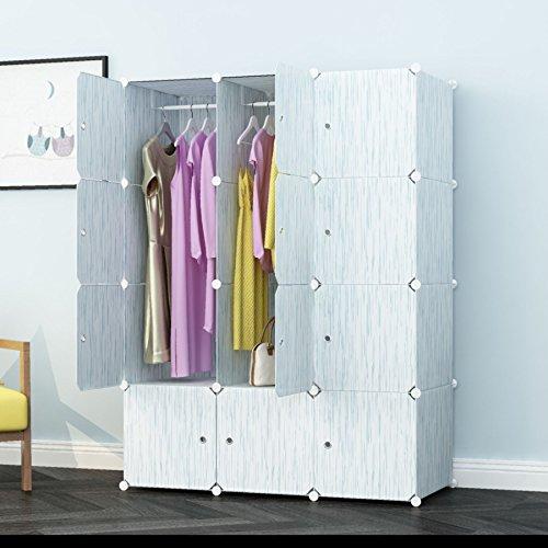 PREMAG Kleiderschrank aus Kunststoff-Modulen zur Aufbewahrung von Kleidung, Accessoires, Spielzeug, Handtüchern oder Büchern. Für Zuhause oder Büro. Fertig in grünem Holzstil mit feinen Adern (12 - Kleiderschrank Kunststoff