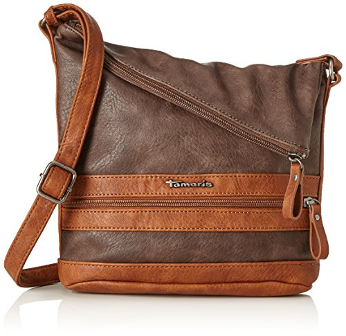 Tamaris Damen Smirne Crossbody Bag Umhängetasche, Braun (Dark Brown Comb.), 30x7,5x22 cm -