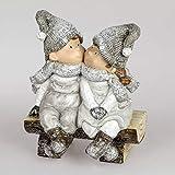 Formano Deko-Figur Kinderpaar auf Bank Winterzeit, Handbemalt, 22 cm, grau weiß