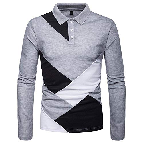 NISHIPANGZI Männer lässig Tops Langarm Pullover Farbe Block Slim Fit Polo Shirt Fashion Casual Polo Langarm grau, XL - Farbe-block-polo-golf-shirt