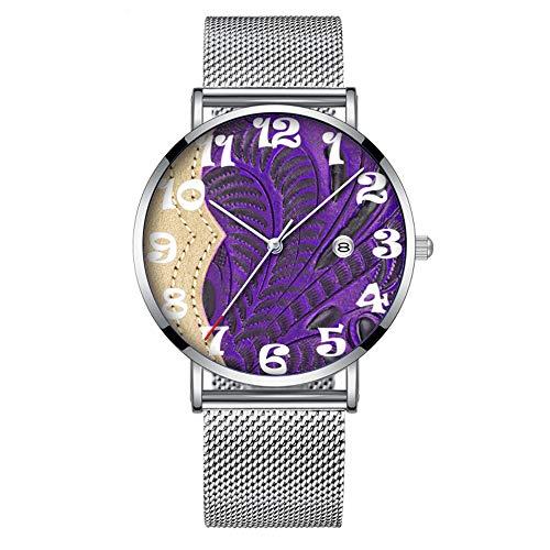 Minimalistische Mode Quarz-Armbanduhr Elite Ultra Thin Wasserdichte Sportuhr mit Datum mit Mesh-Band 071.Purple Floral Tooled Leder Look, mit Tan Accent