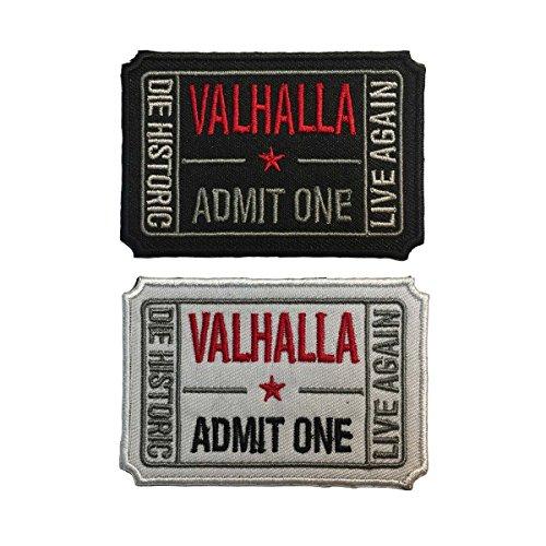 spacecar Ticket to Valhalla zugeben, One sterben Historic Live wieder 3D bestickt Tactical Moral Badge Haken & Loop & Eisen auf Aufkleber Patch 7,6x 5,1cm Größe F - Bundle 2pcs Iron On (Zugeben, Ticket Ein)