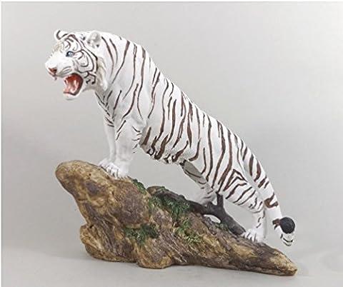 Tiger Katze Tigerfigur weiß Skulptur Deko Tier Figur Statue abstrakt