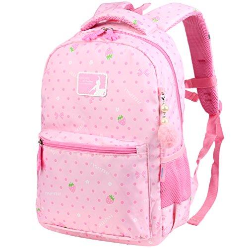 Vbiger Rucksack Mädchen Rucksack Kinder Schulrucksack Kinderrucksack Schultasche für mädchen 3-6 Klasse Rosa (Rosa Rucksack Für Mädchen)