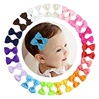 HBF 30pcs boutique kids bow polka dot hair bow for baby girls kids hair pin clips baby accessories