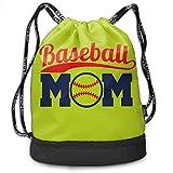 Osmykqe Baseball Mom Men Women Waterproof Drawstring Backpack Rucksack Yoga Dance Travel Shoulder Bags