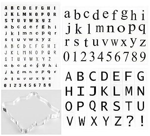 Timbres transparents transparents et transparents en silicone Alphabet, chiffres Ensemble de timbres symétriques avec bloc carré acrylique en forme carrée pour bricolage Artisanat