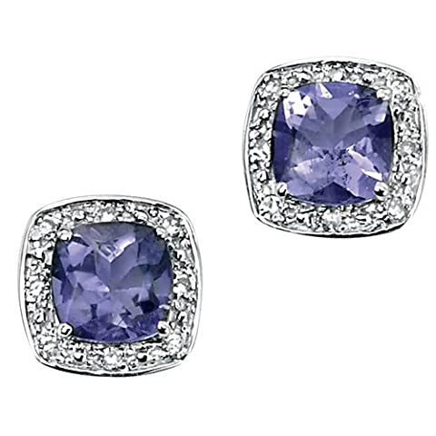 9Ct White Gold Earrings with Cushion Cut Iolite and Pave Set Diamond Surround by Elements Gold