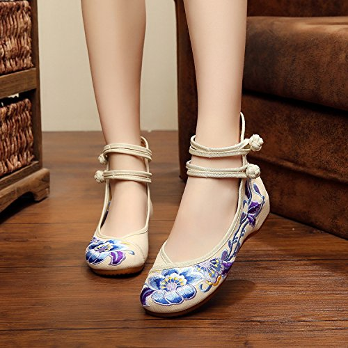 &hua Morbide scarpe con suole ricamati, unico tendine, stile etnico, femaleshoes, moda, comodi, scarpe di tela casuali beige