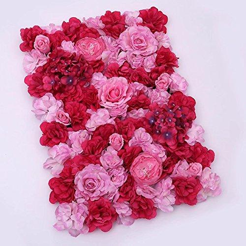 Popowbe Hochzeits- und Blumen-Simulation Blume Fenster-Dekoration mit Aquarellpapier-Teppich-Ornament Blume in Layout Red-pink