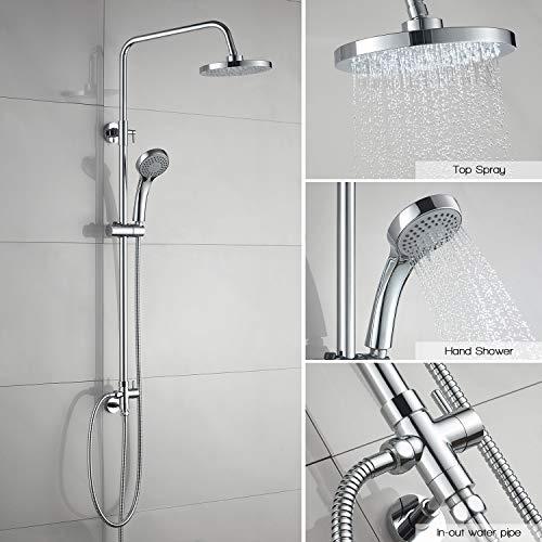 Duschsystem ohne wasserhahn mit Regenbrause und Handbrause, Easy-clean duschset, mit Gleiter, mit schwenkbarem und höhenverstellbarem Regenbrausearm (bei Installation) 79cm - 120cm, chrom