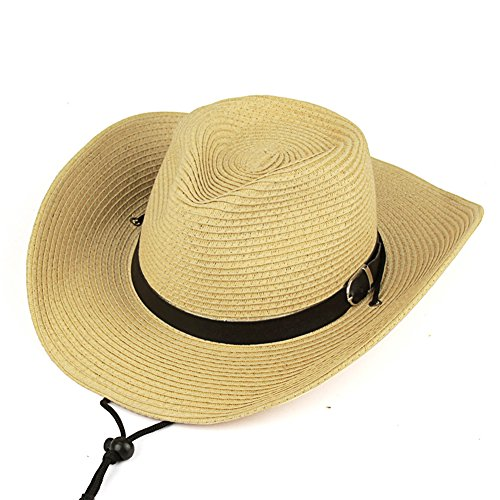 iShine Damen Sonnenhut Klassisch Stil Cowboy-Hut Mode Große Krempe UV-Schutz Sommer Beach Hut Cyperus Papyrus Frau Mädchen Jungen Outdoor Sport Angeln Strap Schwarz PU Beige