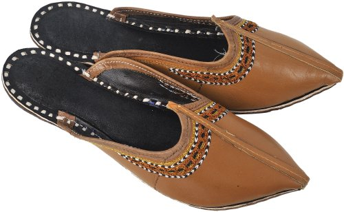 Ladies' Slippers with Thread Embroidery on Edges - Pure Leather - Color Almond Footwear Size 36 -