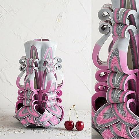 Handarbeit Hochzeit Geschnitzt Kerzen - Groß, Rosa und Grau - EveCandles (Einheit-kerze Vase)