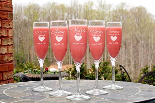 Champagnerflöte, personalisierbar, Hochzeitsgeschenk, Brautjungfer, Brautjungfer, Hochzeit, Party, Hochzeit, Party, Toasting Flöten, Junggesellenabschied, 1 Stück (Flöte Brautjungfer)