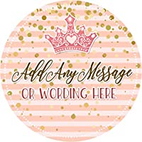 Princess Crown Gold Pink Sticker Labels Personalised Seals Ideal for Party Bags, Sweet Cones, Favours, Jars, Presentations Gift Boxes, Bottles, Crafts