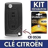 Coque / Boitier de Télécommande Clé Plip CITROEN C4 Picasso C2 C3 C5 Berlingo Jumper + Pile CR1620 DURACELL